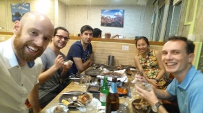 Farewell (Martin), Welcome (Christine), and preprint celebration with Korean BBQ & Grapfruit Soju